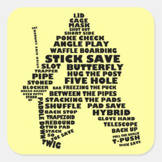 Hockey Goalie Text Art Square Sticker