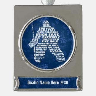 Hockey Goalie Typography Custom Xmas Ornament