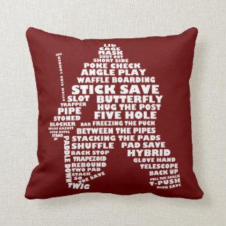 Hockey Goalie Typography Design Pillow