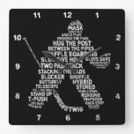 Hockey Goalie Typography Wall Clock