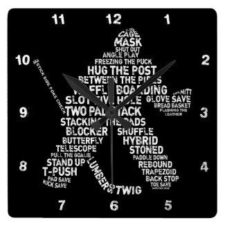 Hockey Goalie Typography Wall Clock
