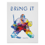 Hockey Goalie Watercolor Poster