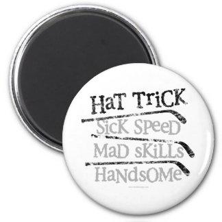 Hockey Hat Trick 2 Inch Round Magnet