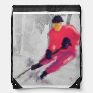 Hockey, He Shoots and Scores Art Drawstring Backpack