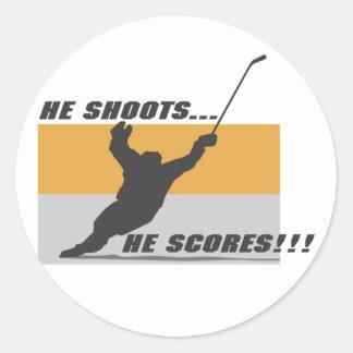 Hockey: He shoots...he scores! Classic Round Sticker