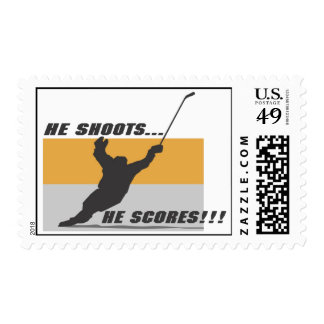 Hockey: He shoots...he scores! Postage Stamp