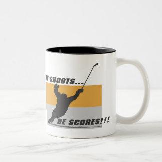 Hockey: He shoots...he scores! Two-Tone Coffee Mug