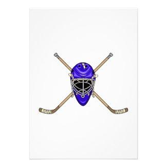 Hockey Helmet & Cross Sticks Blue Custom Invitation