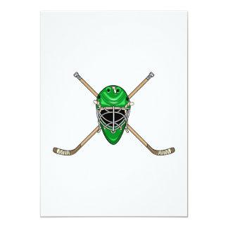 Hockey Helmet & Cross Sticks Green 5x7 Paper Invitation Card