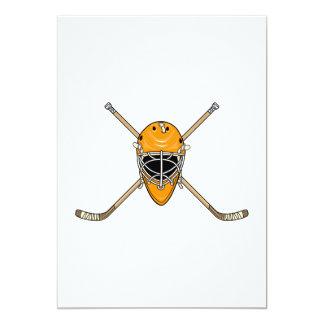 Hockey Helmet & Cross Sticks Orange 5x7 Paper Invitation Card