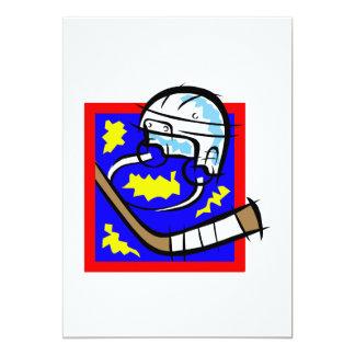 Hockey Helmet & Stick 5x7 Paper Invitation Card
