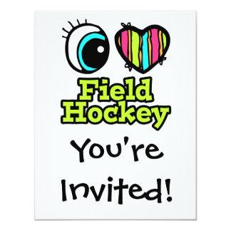 """Hockey hierba brillante del amor del corazón I del Invitación 4.25"""" X 5.5"""""""