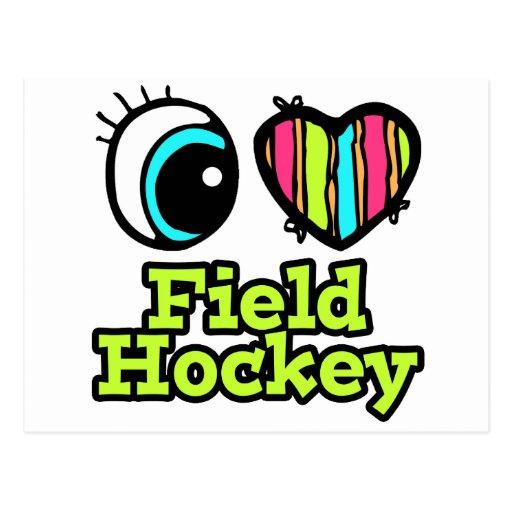 Hockey hierba brillante del amor del corazón I del Tarjeta Postal