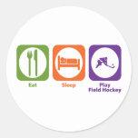 Hockey hierba de Eat Sleep Play Etiquetas Redondas