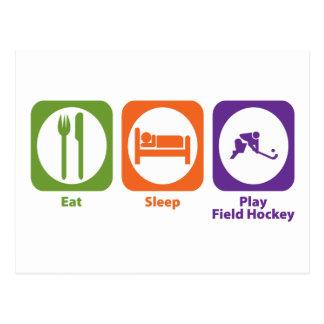 Hockey hierba de Eat Sleep Play Tarjeta Postal