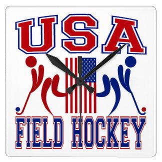 Hockey hierba de los E.E.U.U. Reloj Cuadrado