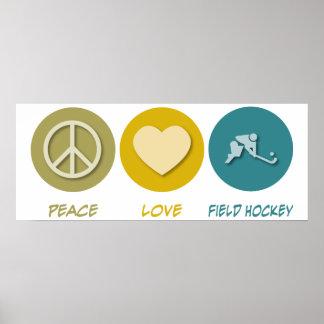 Hockey hierba del amor de la paz poster