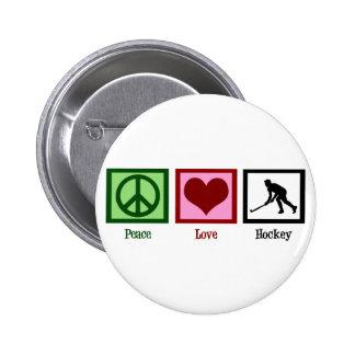 Hockey hierba del amor de la paz pin redondo de 2 pulgadas