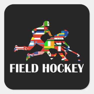 Hockey hierba pegatina cuadrada