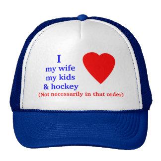 Hockey I Heart My Wife Hats