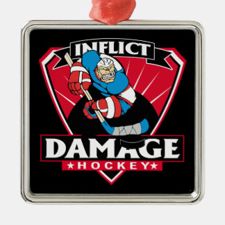 Hockey Inflict Damage Metal Ornament