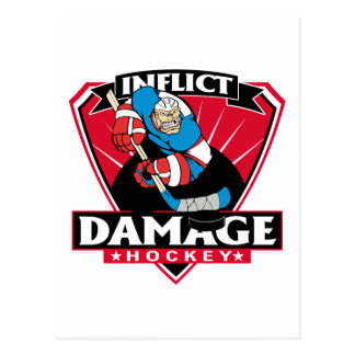 Hockey Inflict Damage Postcard