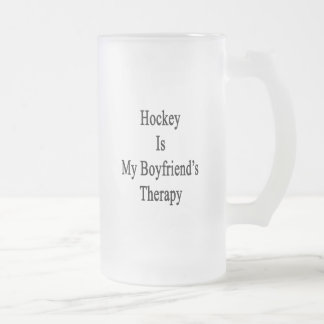 Hockey Is My Boyfriend's Therapy Frosted Glass Beer Mug