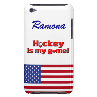 Hockey is my Game!-U.S. Flag/Personalize Barely There iPod Case