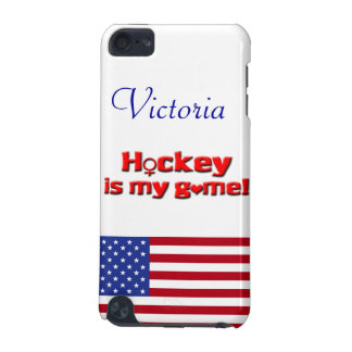 Hockey is my game!-U.S. flag/Personalize Name iPod Touch 5G Case