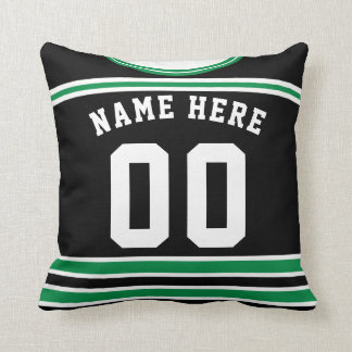 Hockey Jersey Name & Number Template Pillow Green