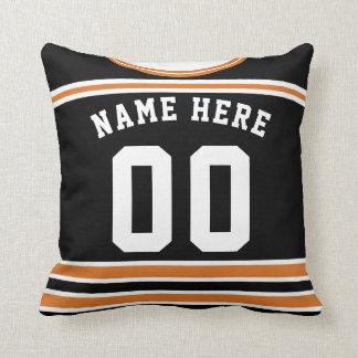 Hockey Jersey Name & Number Template Pillow Orange