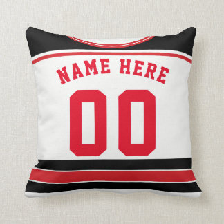 Hockey Jersey Name & Number Template Pillow, Red Throw Pillow