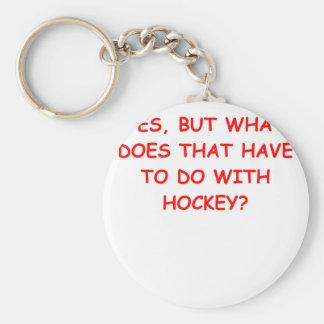 hockey basic round button keychain