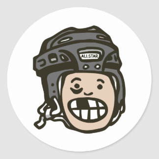 Hockey Kid Black Classic Round Sticker