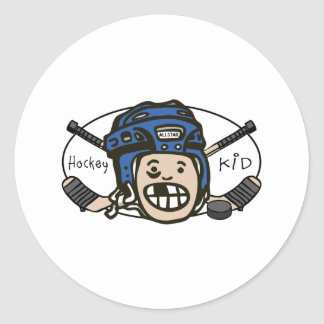 Hockey Kid Blue Classic Round Sticker