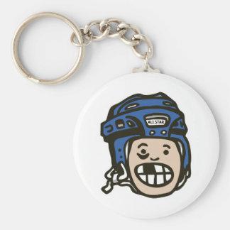 Hockey Kid Blue Key Chain
