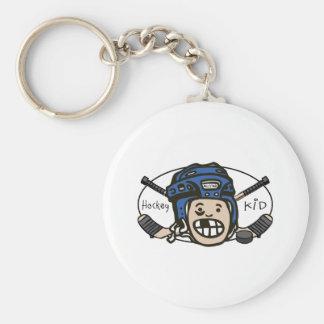 Hockey Kid Blue Keychain