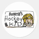Hockey Kid de tía Etiquetas Redondas