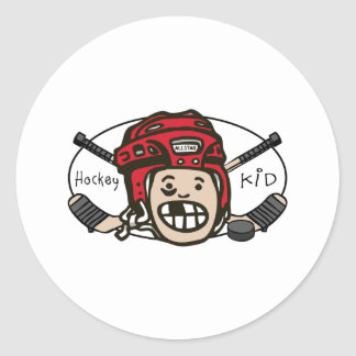 Hockey Kid Red Classic Round Sticker