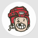 Hockey Kid Red Classic Round Sticker