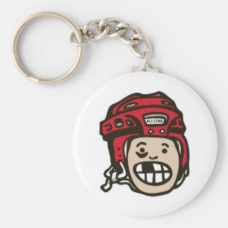 Hockey Kid Red Keychain