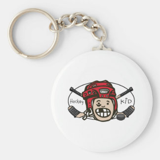 Hockey Kid Red Keychains