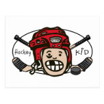 Hockey Kid Red Postcard