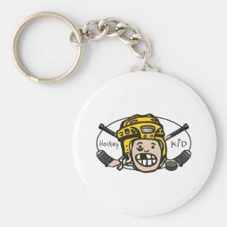 Hockey Kid Yellow Keychains