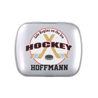Hockey Life Begins on the Ice with Name Jelly Belly Tin