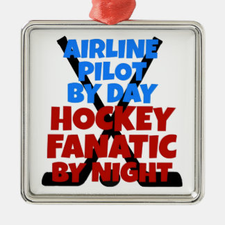 Hockey Lover Airline Pilot Metal Ornament