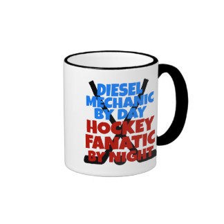 Hockey Lover Diesel Mechanic Ringer Coffee Mug