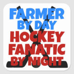 Hockey Lover Farmer Square Sticker