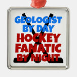 Hockey Lover Geologist Christmas Ornaments