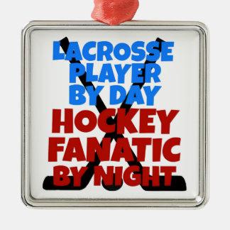 Hockey Lover Lacrosse Player Metal Ornament